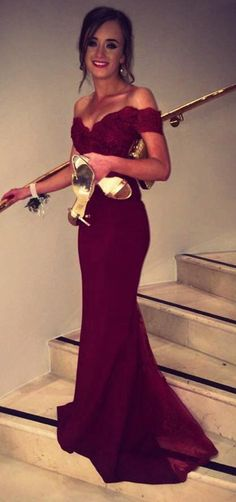 2016 Burgundy Mermaid Prom Dresses Off-the-Shoulder Lace Beaded Long Sexy Evening Gowns.prom dresses 2016, Burgundy dress prom, Burgundy prom dresses