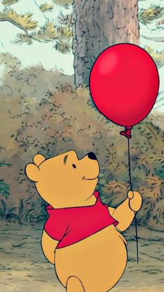 Pooh with a red balloon is such a sight to see. Winnie the Pooh with a red balloon is such a sight to see.