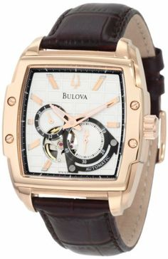 Bulova Men's 97A103 BVA Dual aperture dial Watch Bulova. $253.50. Water resistant to 30 meters. Leather strap. Silver white dial. Self winding Mechanical movement. Curved mineral crystal. Save 47%!