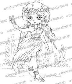 Digital Stamp Floral Toga Fairy Digi Butterfly by lemonshortbread