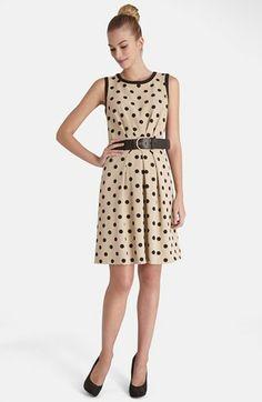 Tahari Polka Dot Crepe Fit & Flare Dress- Always yes to polka dots
