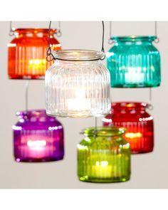 World Market Hanging Glass Tealight Jars, Set of 6 from The World Market | BHG.com Shop