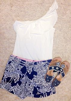 Lilly pulitzer shirt and shorts.  This is so unlike me but I actually really like this.