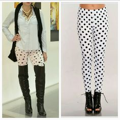 Polka-dot leggings NWT Brand new with tags. Polka-dot leggings. Super easy to pair with a top and fur vest or a crisp white collar shirt and denim jacket or a long warm sweater. Dress them up or make them casual. Large and small black polka-dot on a white background.  92%cotton 8%spandex Size medium  Also available in small Pants Leggings