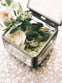 Vintage glass ring box via When He Found Her - Deer Pearl Flowers / http://www.deerpearlflowers.com/wedding-ceremony-decor/vintage-glass-ring-box-via-when-he-found-her/