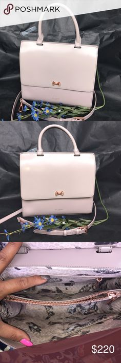 "Ted Baker Otillia Top Handle Satchel Classic and refined, this top handle Ted Baker satchel boasts a shining bow detail and rich-looking leather construction. Top handle, detachable adjustable crossbody strap Snap flap closure; lined 9.5""L x 1.5""W x 7""H; 5.5"" handle drop, 23.5"" strap drop Leather; lining: polyester Imported light purple color ! So beautiful 😍 No Trades🚫 Ted Baker Bags Satchels"
