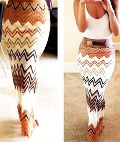 TAN CHEVRON MAXI <3