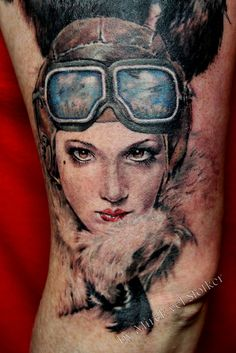 woman pilot tattoo by Mirek vel Stotker by stotker, via Flickr