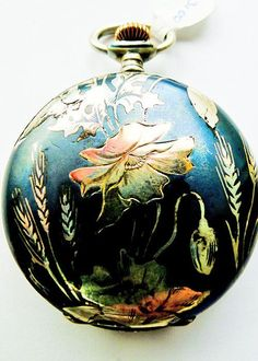 Antique Art Nouveau Niello Enamel Sterling Silver Longines Pocket Watch - Circa 1900