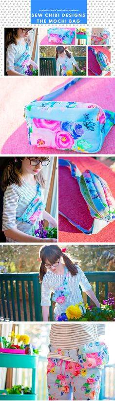 🍡FREE PATTERN! the Mochi Bag for Kids and Adults. An adjustable strap, zippered chest bag (can be worn on hips too!) with a front pocket! A must-have accessory for any outing! Pairs well with the 🍓Ichigo Bomber Jacket PDF Pattern by Sew Chibi Designs. A lightweight, color blocked, knit coat for all kids: boys and girls, from baby to teen! Perfect for spring! Grab a copy of the pattern for $9 USD. Fanny Pack Pattern, Patterned Bomber Jacket, First Sewing Projects, Knitted Coat, Sewing Patterns For Kids, All Kids, Gorgeous Fabrics, Kids Bags, Mochi