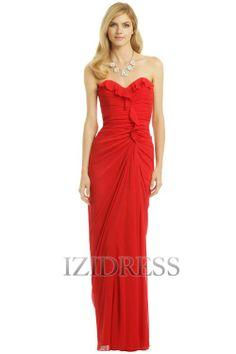 Sheath/Column Strapless Sweetheart Floor-length Chiffon Evening Dress
