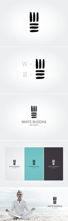 White Buddha logo design More