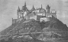 GERMANY/CASTLES: Franco-Prussian War: The Castle of Hohenzollern, Swabia, Antique wood engraved print, 1871; approximate size 13.5 x 22.0cm, 5.25 x 8.75 inches