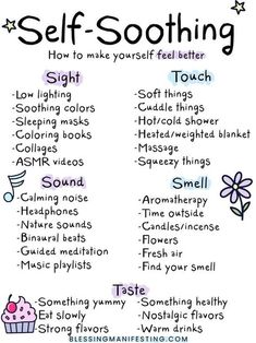 Tolerance: Self-Soothing Self-care ideas for self-soothing and better mental health.Self-care ideas for self-soothing and better mental health. Self Care Activities, Mental Health Activities, Therapy Activities, Self Care Routine, Mental Health Awareness, Mental Health Care, Child Mental Health, Mental Illness In Children, Mental Health Posters