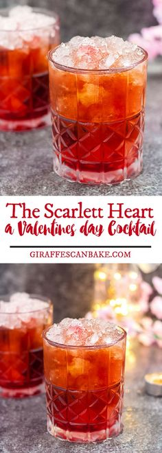 The Scarlet Heart - Easy cocktail recipes for valentines day that is full of amazing flavors, it is a little bit different, and goes down a treat. It's the perfect easy romantic cocktail to share with your significant other, or for a crowd. #drinks #cocktails #valentinesday