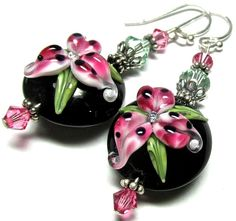 Lampwork Earrings Handmade Lampwork Beads SRA by SeeMyJewelry, $28.00