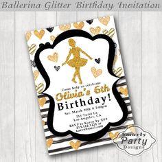 Ballerina Girls Birthday Invitation Invite by SmartyPartyDesigns