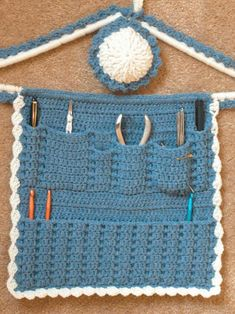 Hanging Hook Caddy And Matching Pincushion By Cylinda Mathews - Purchased Crochet Pattern - (crochetmemories)