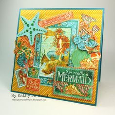Graphic 45 Voyage Beneath the Sea mermaid card. Also used products from Impression Obsession, Imagine Crafts and Elizabeth Craft Designs