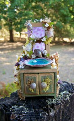 Dollhouse Miniature Fairy Sink Cabinet by Sherry of 19th Day Miniatures. $40.00, via Etsy.