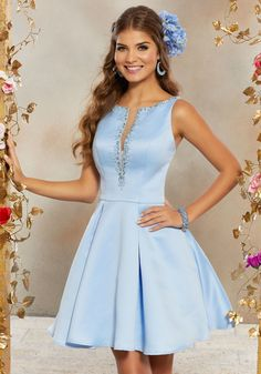 5759ee94df9 STYLE  9507 Satin Party Dress Featuring a Deep