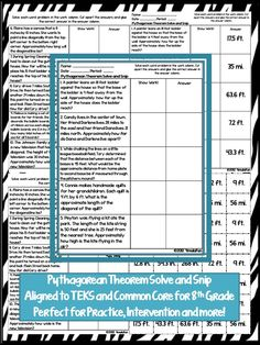 Pythagorean Theorem Solve and Snip