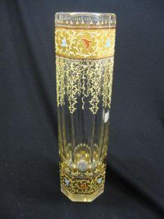 *MOSER GLASS ~  Art Glass Vase, enameled flowering vine and