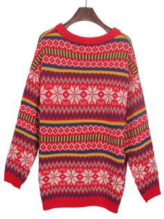 Red Vintage Snowflake Striped Knitted Jumper Sweater