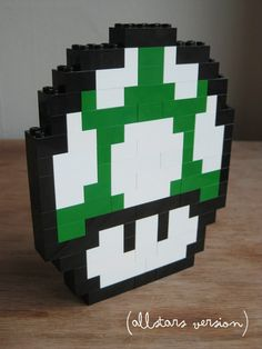 LEGO custom kit: Super Mario Bros 3 1up mushroom. $15.00, via Etsy.