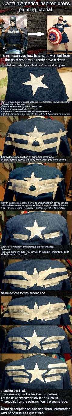 Captain American inspired dress painting tutorial.#Avengers #Cosplay