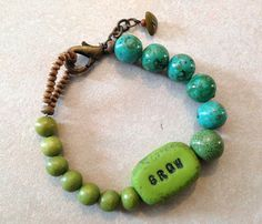 polymer clay word bead bracelet grow by trioriginals on Etsy Beaded Necklace, Beaded Bracelets, Polymer Clay, Beads, Handmade, Stuff To Buy, Etsy, Jewelry, Beaded Collar