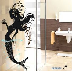 dormitorio+sirena+floresextraíble+arte+gráfico+pared+por+ccnever