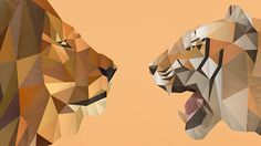 Courage on Behance, Graphic Design of two animals - Lion and Tiger. Posed in a faceoff. This is a polygon illustration.