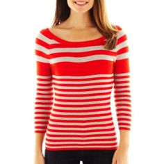 Liz Claiborne 3/4-Sleeve Striped Ribbed Sweater  found at @JCPenney