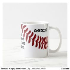 Baseball Mugs 3 Text Boxes for Player's and Coach