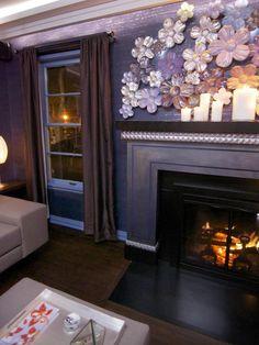 dark brown, purple, and black living room