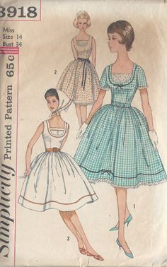 1960s Vintage Sewing Pattern B34 DRESS & SCARF (1073) Simplicity 3918 by tvpstore on Etsy https://www.etsy.com/listing/488240193/1960s-vintage-sewing-pattern-b34-dress