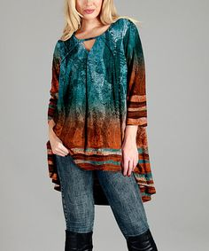 Another great find on #zulily! Teal & Orange Abstract Hi-Low Tunic - Plus #zulilyfinds
