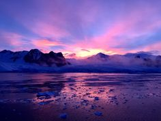 Early morning sunrise in Antarctica
