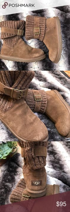 UGG Cambridge boots! Can be tall or low boots! These adorable Ugg boots Cambridge style are so versatile and can be worn with the sweater part up or down as shown! Like getting 2 boots in one! EUC. Some wear to bottom of soles as shown in pics. Suede is in excellent condition with no stains or marks UGG Shoes Winter & Rain Boots