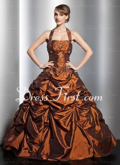 Duchesse-Linie Neckholder Bodenlang Taft Quinceañera Kleid (Kleid für die Geburtstagsfeier) mit Rüschen Perlstickerei (021014753)