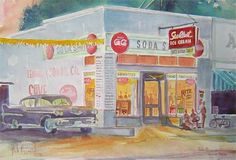 """Lunch every day - Walk from Grainger High School (Open Lunch) to Shady's for a """"Shady's"""" cheeseburger and a Dr. Pepper!  I can still taste them!!  1950s diner  (through 1967) Shady's Kinston NC Bob Pittman Art - Painting, Watercolor, Oil, acrylic, Eastern NC, North Carolina, rural landscapes, Barns, tobacco, Fine Art Prints."""