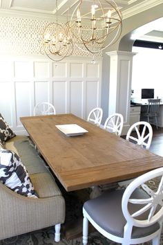 Furniture, : Drop Dead Gorgeous Dining Room Decoration Using Brass Orbital Chandelier Over Dining Table Including Light Grey Fabric Dining Chair With Nailhead Trim And Rectangular Solid Light Oak Wood Dining Tables