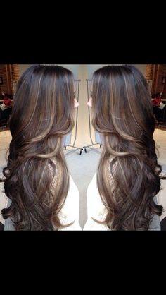 Black hair with brown balayage