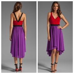 Black Halo Red Dress Red dress with purple waistband and straps that come to a V in the back. Fits TTS, lots of great flow, perfect for weddings or formal events. Black Halo is an LA based company, bought at Bloomingdales. Black Halo Dresses High Low