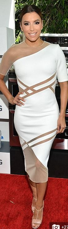 Who made  Eva Longoria's white short sleeve dress and nude sandals?