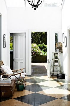 floors black and white paintedRoom