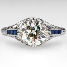 Art Deco Engagement Ring Large 1.6Ct Old European Diamond Solid Platinum Antique