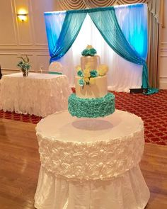 Pretty cake at a Tiffany & Co quinceañera  party! See more party ideas at CatchMyParty.com!