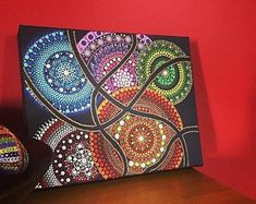 Mandala on canvas acrylic paint, Dotillismo technique Acrylic Artwork, Dot Art Painting, Mandala Painting, Diy Painting, Mandala Canvas, Mandala Dots, Mandala Design, Painting Templates, Art Template